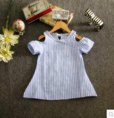 新品!激安 子供服!140�pストライプチュニック ワンピース ブルー