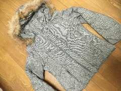 美品&即決.ダウン80%の暖かいダウンジャケット.ツイード風生地