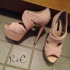 R&E シフォンワイドストラップサンダル