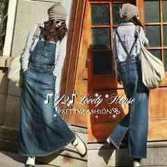 【W85】〜3L*大きいサイズ*オーバーオールマキシ丈デニムスカート