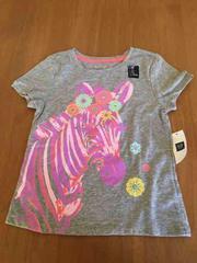 新品!タグ&シール付き!ピンクのシマウマグレー半袖Tシャツ!