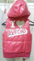 新品Barbieバービーダウン調ファーフード付ベスト120