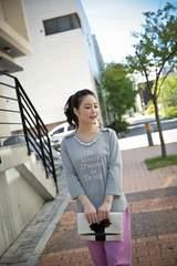 0924-62150大きいサイズ☆パールネックレス付カットソー☆3L/グレー