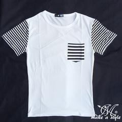 ポケット&スリーブ ボーダー柄 半袖Tシャツ TEE 197M