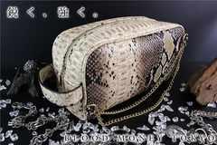 ヤクザチンピラオラオラ系/蛇パイソンワニ/クロコ革調/型押しセカンドバッグ鞄15015茶