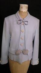 Tisedoreゴールドチェーンボタンツイードウールジャケット襟ポンポンファー付リボンS