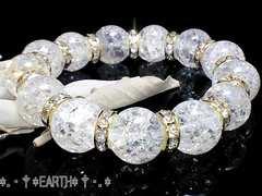 天然石★14ミリ爆裂クラック金色ロンデル数珠