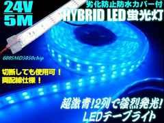 24V船舶漁船用/カバー付青色LEDテープライト蛍光灯・集魚灯/5M巻