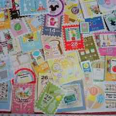 ♪切手風カットシール50枚まとめ売り�Q♪雑貨コラージュ・ラッピングなどに♪