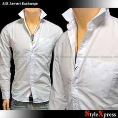 A|Xアルマーニエクスチェンジ■白S■裾ロゴ無地長袖シャツ
