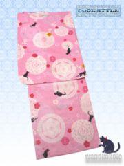 【和の志】女性用浴衣◇Fサイズ◇ピンク系・レースに猫652-9