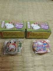 ハローキティ東京限定缶バッチ2個お台場浅草Ver