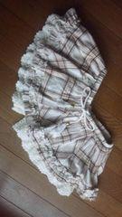 リズリサ スカパン スカート×パンツ M 白×茶 チェック LIZLISA N2m