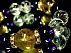 ルチルクォーツ14ミリ§アメジスト§トルネード水晶12ミリ金ロンデル数珠