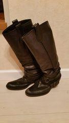 ●HIPS●本革ブラックブーツ/23cm