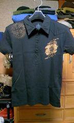 美品 カスタムカルチャー プリント半袖ポロシャツ Sサイズ44 細身 黒色 ロックパンク