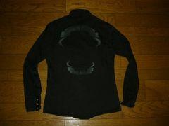BACKBONETHEBASICバックボーン背ロゴリボンシャツ黒薄手ワイヤー