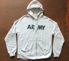 5.米軍本物 ARMYアーミーミリタリジップパーカー 杢グレ 灰 L