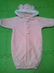 赤ちゃんの城ピンクうさぎさんカバーオールおくるみ50〜80日本製
