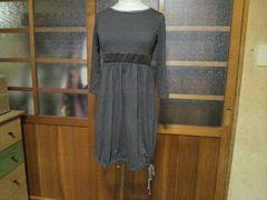UNIQLO/ユニクロ裾リボン 絞り バルーン ワンピース