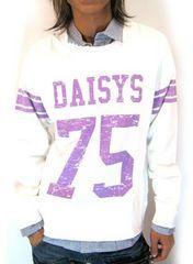 Daisy(デイジー)シャツレイヤードトレーナー/白M アメカジ系