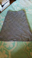 W70 大きいサイズ 千鳥格子 ひざ丈Aラインスカート シルク混