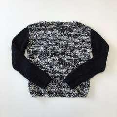 リナオク EMODA エモダ ミックスニットセーター 黒×白