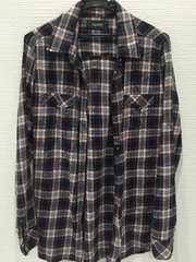 チェックネルシャツ☆ブラック×ネイビー