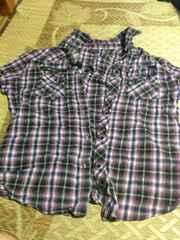 3Lサイズ 紫のチェックシャツ