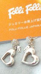 フォリフォリ【Folli Follie】925 シルバー〈ハート/ストーン/FF〉ピアス 両耳