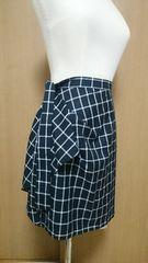 新品未使用タグ付☆プライムパターンデザインチェック柄スカート♪黒
