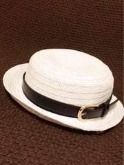 帽子の色は選べる黒少し難ありベルト付きシンプルカンカン帽子