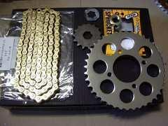 (8038)Z250FT A4 A5メッキスプロケゴールドチェーンセット