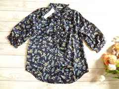 新品 Leap Lippin フリル 花柄 サテン ブラウス 定価¥4515 紺