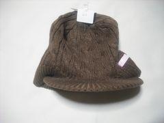 wb603 ROXY ロキシー つば付き ニット帽 ビーニー 茶