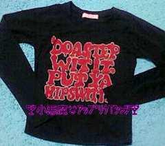 小悪魔JSGアップリケロゴTシャツ長袖シンプル黒M