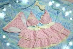 水着 ビキニ 水玉 ピンク フリルスカート AKB風 7号 Sサイズ