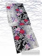【和の志】女性用浴衣◇Fサイズ◇黒白・バラ柄◇KWAF-103