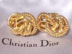 GL-6246【ChristianDior】ゴールドデザインイヤリングCD刻印有正規品