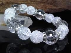 128面カット水晶14ミリ§クラック水晶12ミリ銀ロンデル