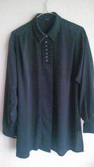 カジュアル♪デザイン♪黒♪シャツ♪ボタン♪