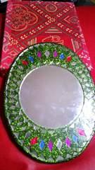 グリーン♪アジアン♪ラメ♪掛け鏡♪(*´ω`*)雑貨