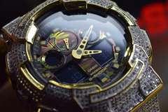 14K至完全武装Gショック100TYPEダLabトリプルカスタム腕時計