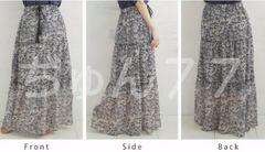 新品☆5Lマキシスカート☆ジョーゼットロングスカート★ホワイト×ブラック☆大きいサイズ