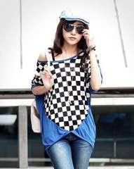 0213-71555大きいサイズ☆チェッカーフラッグ柄裾チュニック☆ブルー