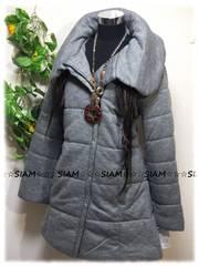 冬新☆大きいサイズ☆3Lグレー☆中綿入☆BIGふわ襟中綿ロングコート