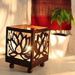 蓮/キノコチークランプアジアンインテリア間接照明lotus