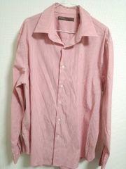 ペリーエリス ピンク系ストライプシャツ