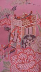 花簪典雅な御所車の織物/ピンクお正月のインテリアに