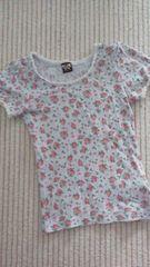 レイアリス・花柄半袖Tシャツ・ブルー・130
